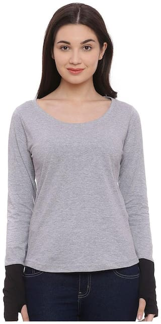 THE DRY STATE Women Solid Boat neck T shirt - Grey