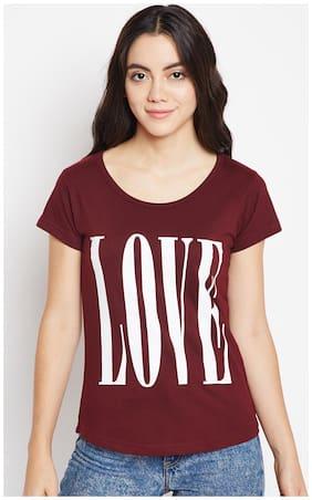 THE DRY STATE Women Printed Round neck T shirt - Burgundy