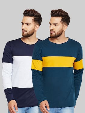 Men Round Neck Colorblocked T-Shirt Pack Of 2