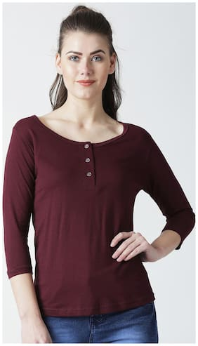 THE DRY STATE Women Solid Round neck T shirt - Maroon