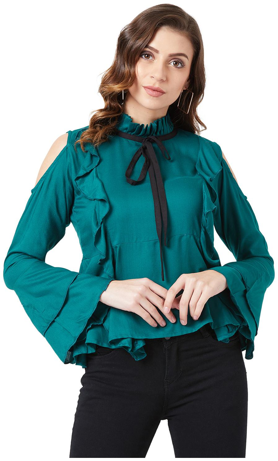 The Dry State  Casual Bell Sleeve Solid Women Green Top