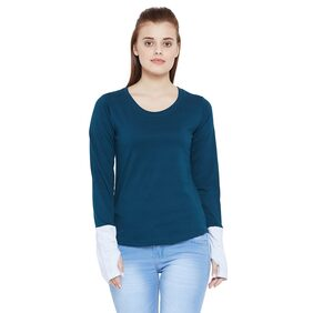 The Dry State Women's Round Neck Full Sleeves Green T-Shirt