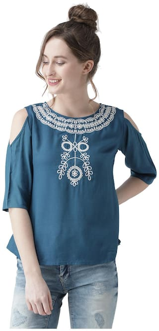 THE DRY STATE Women Rayon Embroidered - Regular top Blue