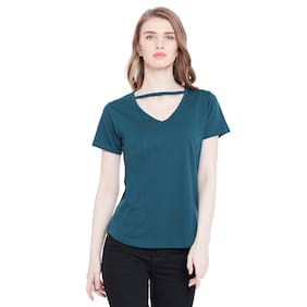THE DRY STATE Women Cotton Solid - Regular Top Green
