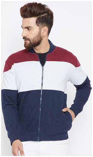 The Dry State Men's Collared Neck Full Sleeve Colorblocked Multicolor Sweatshirt