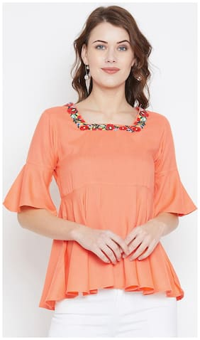 Women Embroidered Square Neck Top