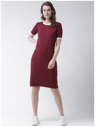 THE DRY STATE Cotton Solid Bodycon dress Maroon