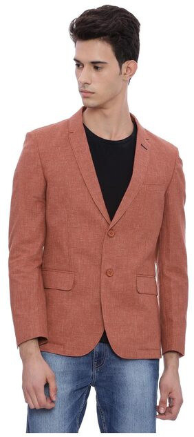 The Indian Garage Co Men Cotton Slim fit Blazer - Red