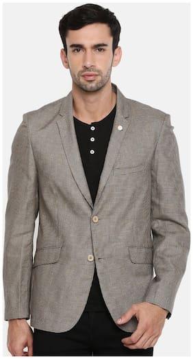 The Indian Garage Co Men Cotton Slim fit Suit - Beige