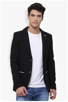 The Indian Garage Co Men Cotton Slim Fit Blazer - Black