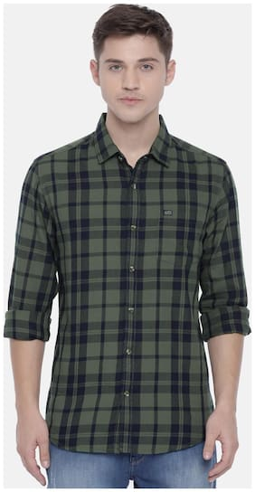The Indian Garage Co Men Slim Fit Casual shirt - Green