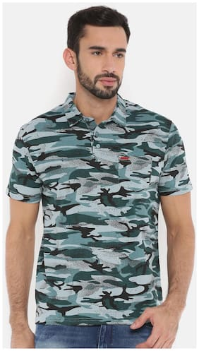 The Indian Garage Co Men Slim fit Polo neck Camouflage T-Shirt - Blue
