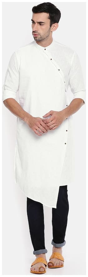 The Indian Garage Co Men Long Cotton Solid Kurta - White