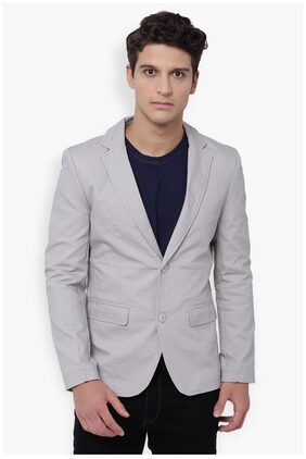 The Indian Garage Co Men Cotton Slim Fit Blazer - Grey