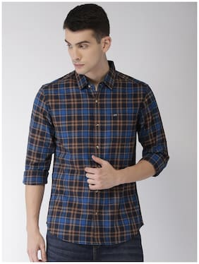 The Indian Garage Co Men Slim Fit Casual shirt - Blue & Brown