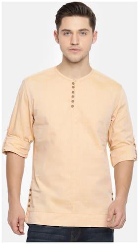 The Indian Garage Co Men Short Cotton Solid Kurta - Orange