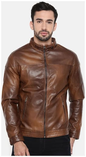 3ce8db6a6 The Indian Garage Co Men Regular Fit Crepe Full Sleeves Solid Ethnic Jackets  - Brown