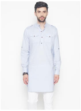 The Indian Garage Co Men Regular Fit Cotton Full Sleeves Solid Kurta Pyjama - Blue
