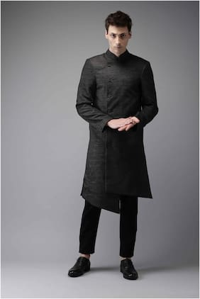 The Indian Garage Co Cotton Long Sherwani - Black