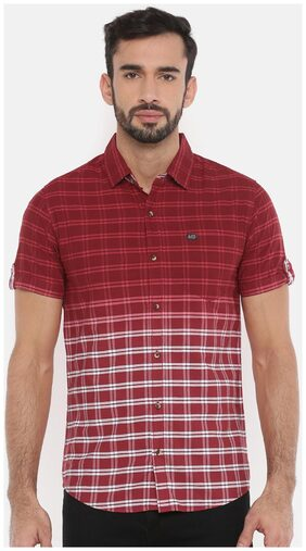 The Indian Garage Co Men Slim Fit Casual shirt - Maroon