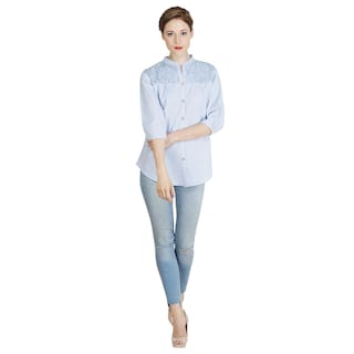 The Kala Shop 100% Cotton Chambray Chinese Coller Blue Shirt For Women
