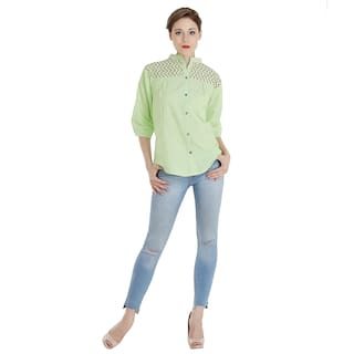 The Kala Shop 100% Cotton Chambray Chinese Coller Green Shirt For Women