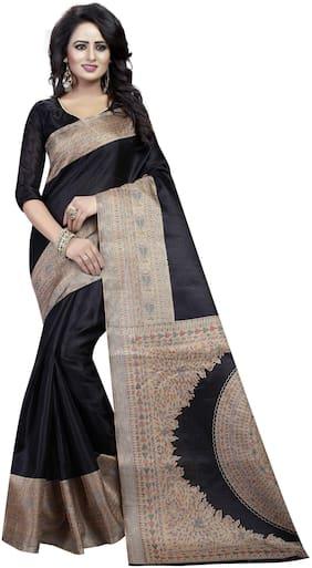 The Shopoholic Silk Kalamkari Saree - Black , With blouse