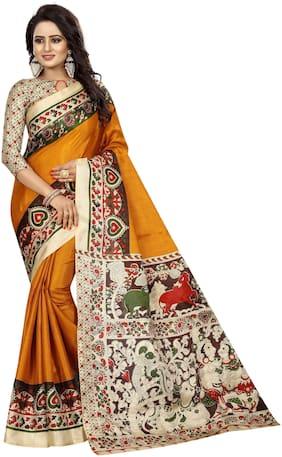 The Shopoholic Silk Kalamkari Saree - Mustard , With blouse