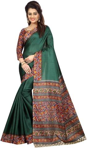 The Shopoholic Silk Kalamkari Saree - Green , With blouse