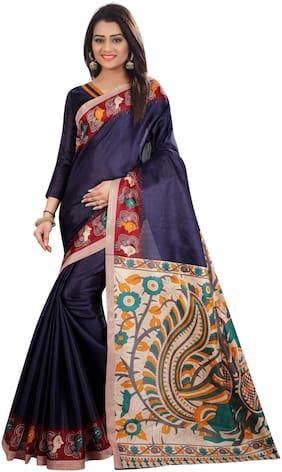 The Shopoholic Navy Khadi Silk Kalamkari Print Silk Sarees For Women