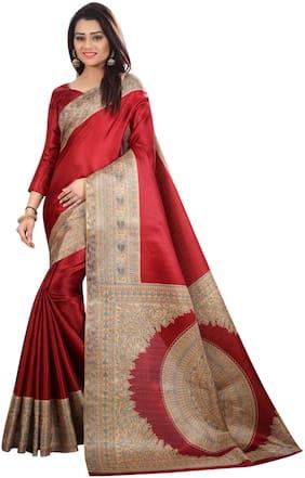 The Shopoholic Silk Kalamkari Saree - Maroon , With blouse