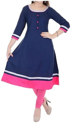 The Style Story Women Cotton Printed Anarkali Kurta - Blue