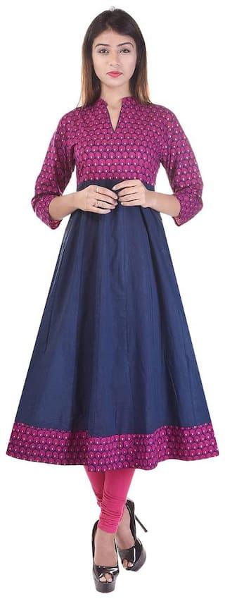 The Style Story Women Blue Printed Anarkali Kurta