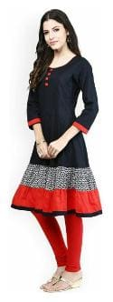 The Style Story Women Black Printed Anarkali Kurta