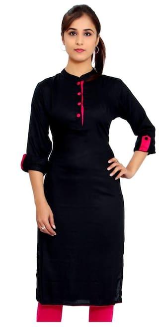 The Style Story Women Rayon Solid Straight Kurta - Black