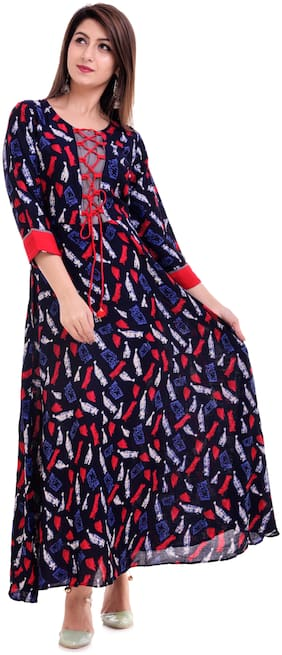 The Style Story Women Rayon Printed A line Kurta - Blue