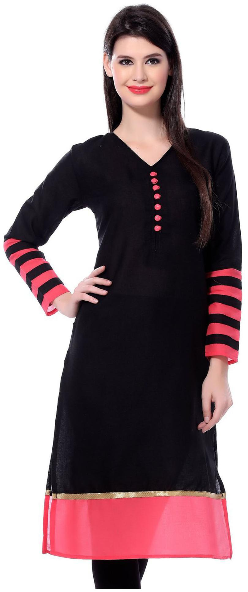 The Style Story Women Black Solid Straight Kurta by The Style Story