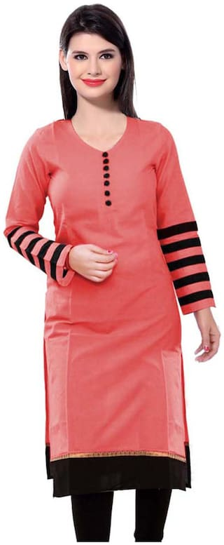 The Style Story Women Cotton Abstract Straight Kurti - Pink