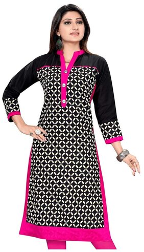 The Style Story Black Designer Cotton Kurti