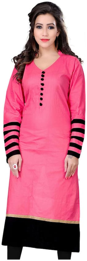 The Style Story Pink Cotton Kurti (Pack Of 10)
