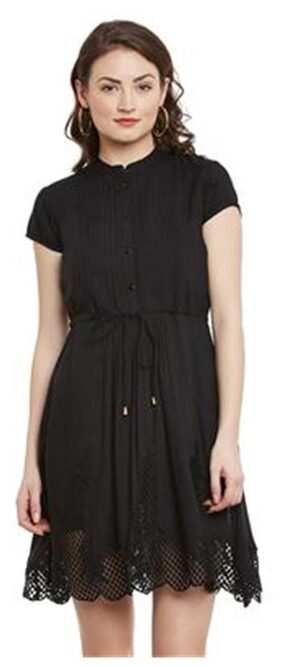The Vanca Cap Sleeve Shirt Dress With Slim Band Collar