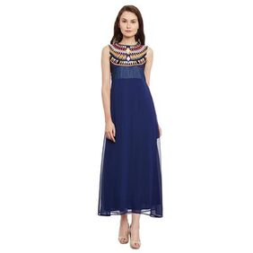 The Vanca Denim Dark Wash Sleeveless Maxi With Embroidered Yoke And Georgette Flare Bottom