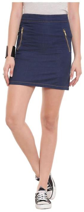 The Vanca Front Button Down Denim Skirt In Blue Dark Wash