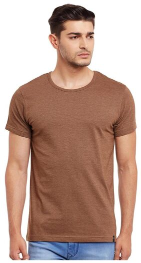 The Vanca Men Regular Fit Round Neck Solid T-Shirt - Brown