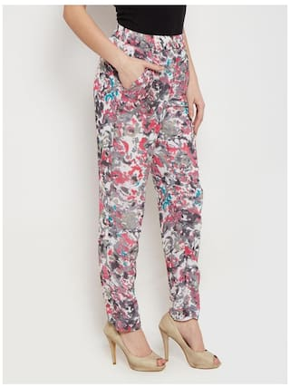 The Vanca Trousers In Grey Print With Side Pockets Detail