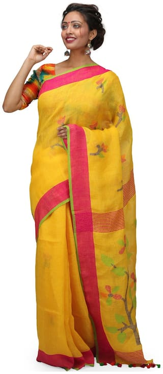 The Weave Traveller Handloom Hand Woven Linen Jamdani Saree With Attached Blouse