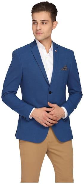Theme Men Blue Solid Slim fit Single Breasted Blazer