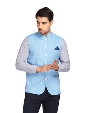Theme Men Cotton Regular fit Waistcoat - Blue