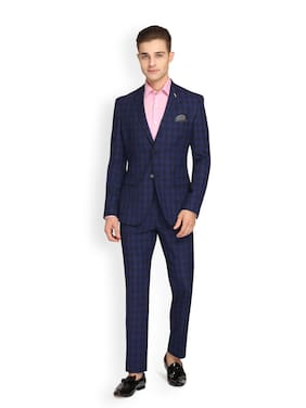 Theme Men Polyviscose Checked Blue  Suit