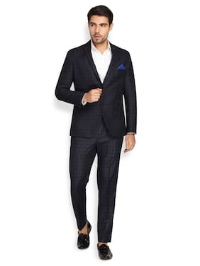 Theme Men Polyester Checked Navy Blue  Suit